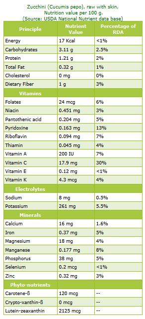 Lebanese Zucchini Nutrition information
